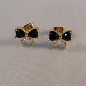Yellow Gold Black Onyx Topaz Zircon Bow Earrings